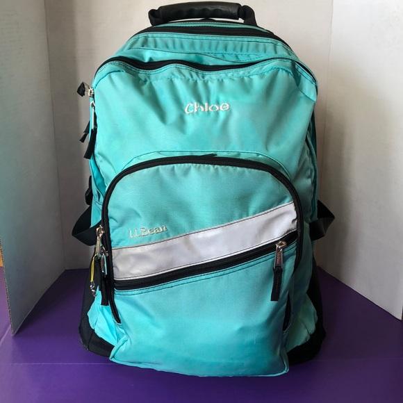 LL Bean Chloe Monogram Rolling Backpack Teal